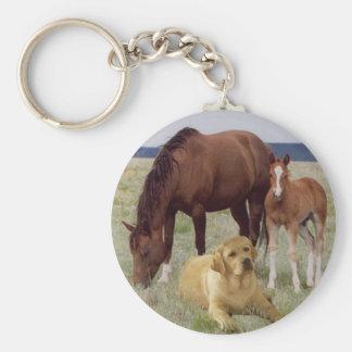馬Keychainを持つラブラドル・レトリーバー犬 キーホルダー