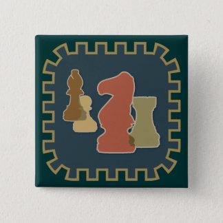 駒の青ボタン 5.1CM 正方形バッジ