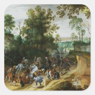 騎兵隊のコラムは森林道で待伏せしました スクエアシール