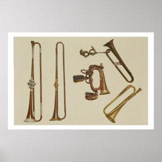 騎兵隊は、ビューグル、Jによってなされる金メッキのトランペットトランペットを吹きます ポスター