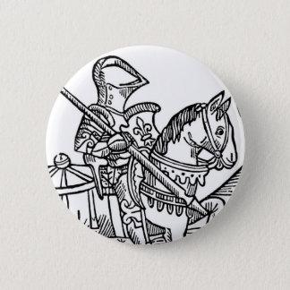 騎士の木版画 5.7CM 丸型バッジ