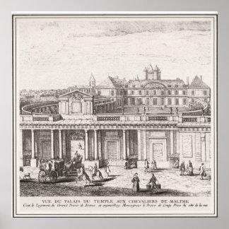 騎士のTemplar、マルタのヴィンテージのイメージ宮殿 ポスター
