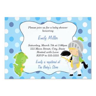 騎士ドラゴンの男の赤ちゃんのシャワーの招待状 12.7 X 17.8 インビテーションカード