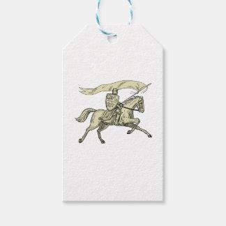 騎士乗馬馬の盾の槍の旗のスケッチ ギフトタグ
