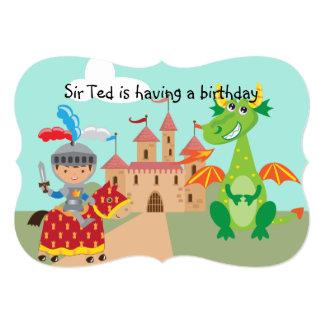 騎士城およびドラゴンの誕生日の招待 12.7 X 17.8 インビテーションカード