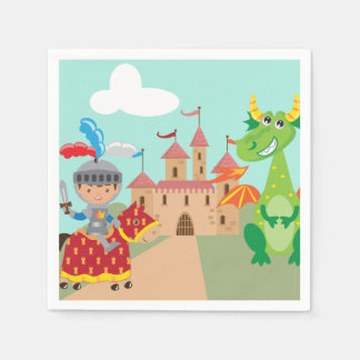 騎士城およびドラゴン スタンダードカクテルナプキン