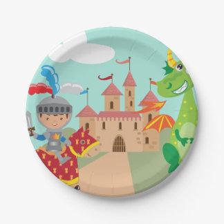 騎士城およびドラゴン ペーパープレート