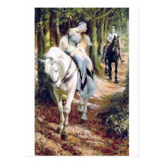 騎士女性白馬の中世ロマンチック ポストカード