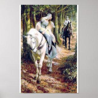 騎士白馬の女性森林 ポスター
