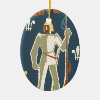 騎士、冒険および本ポスター セラミックオーナメント