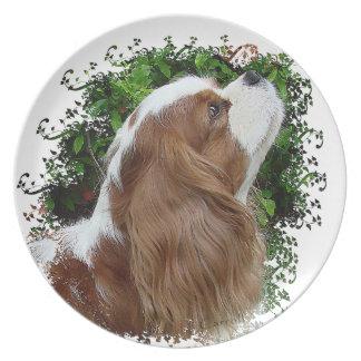 騎士 王 チャールズ スパニエル犬 ディナー皿