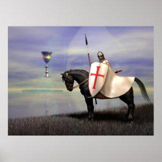 騎士Templarおよび杯 ポスター