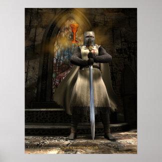 騎士Templarおよび聖杯 ポスター