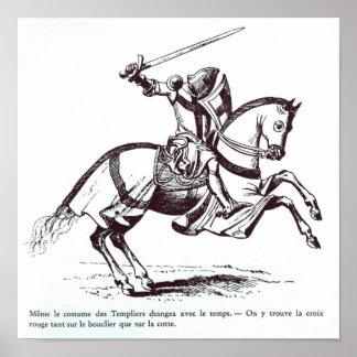 騎士Templarのイラストレーション ポスター