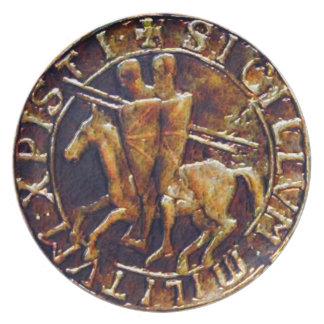 騎士Templarの中世シール プレート