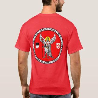 騎士Templarの守り神のシールのワイシャツ Tシャツ