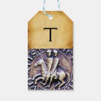 騎士TEMPLARモノグラムの羊皮紙のシール ギフトタグ