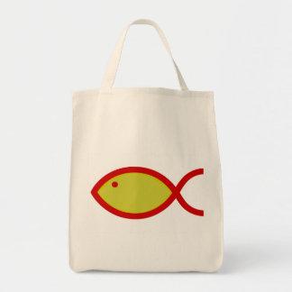 騒々しい魚-赤の金ゴールド トートバッグ