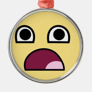 驚かされたスマイリーフェイスのオーナメント シルバーカラー丸型オーナメント