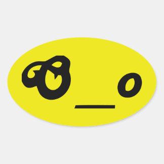 驚かされた心配したOの下線oの文字は顔を感情を表に出します 楕円形シール