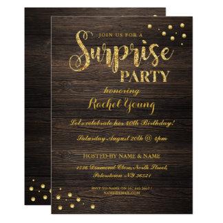 驚きの金ゴールドのグリッターの木製の誕生日の招待状 カード
