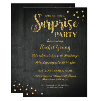 驚きの金ゴールドのグリッターの誕生日のチョークの招待状 カード