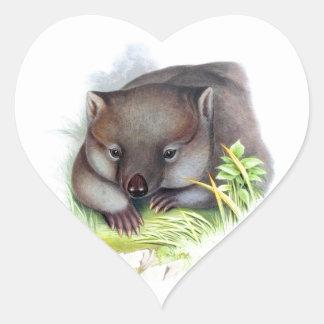 驚くばかりにかわいいオーストラリア動物のwombatのヴィンテージ ハートシール