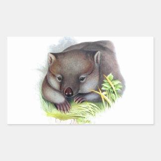 驚くばかりにかわいいオーストラリア動物のwombatのヴィンテージ 長方形シール