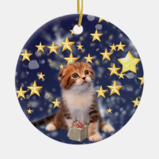 驚異および喜び猫のアートワークを望みます セラミックオーナメント