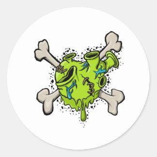 骨を搭載する有毒なハート001 (白の背部) .jpg ラウンドシール