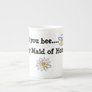 骨灰磁器のマグは蜂私のメイド・オブ・オーナー(花嫁付き添い人) ボーンチャイナカップ