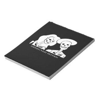 骨組カップルの白いデザインのノート ノートパッド