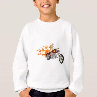 骨組バイクもしくは自転車に乗る人及び炎: スウェットシャツ