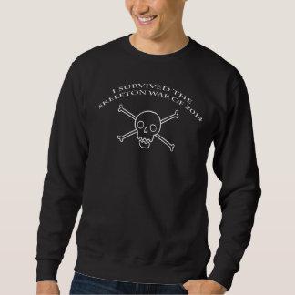 骨組戦争の丸首の黒 スウェットシャツ