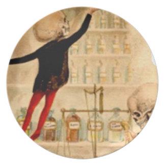 骨組気違いの科学者のハロウィンの一服の装飾 プレート