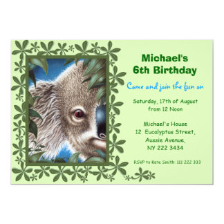 骨董品のコアラの子供の誕生日のパーティの招待状 カード