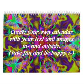 (骨)突起の万華鏡のように千変万化するパターンII + あなたの文字及びイメージ カレンダー