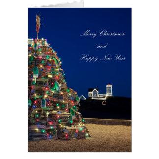 高いメインLobstaのトラップのこぶライトクリスマスカード カード