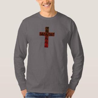 高い定義、燃えるようなキリスト教の十字 Tシャツ