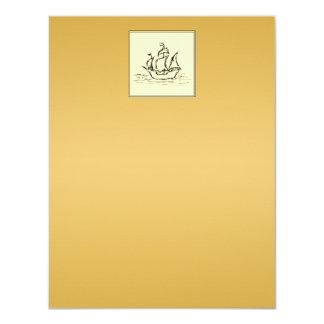 高い帆船。 黄色がかったタン色の環境 カード