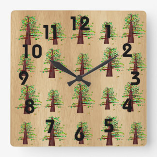 高い木の時計 スクエア壁時計