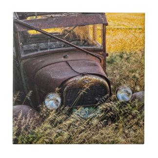 高い草の断念された古い車 タイル