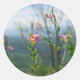 高いCorydalisの野生の花のステッカー ラウンドシール