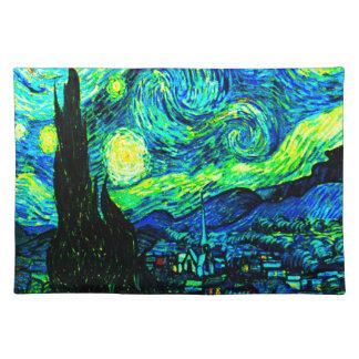 高められるフィンセント・ファン・ゴッホの星明かりの夜 ランチョンマット