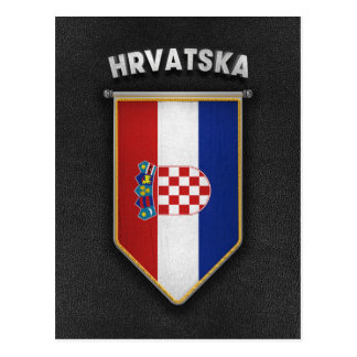 高品質なレザールックのクロアチアの長旗 ポストカード