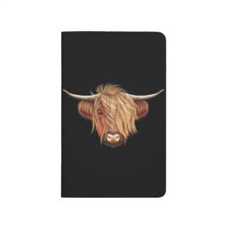 高地の牛の図解入りの、写真付きのなポートレート ポケットジャーナル