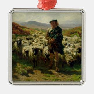 高地の羊飼い1859年 メタルオーナメント