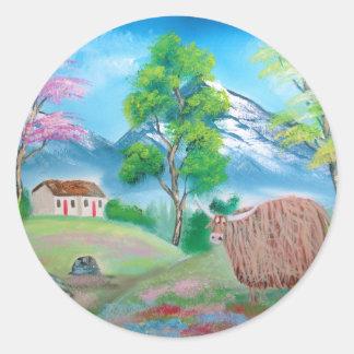 高地牛民俗絵画 ラウンドシール