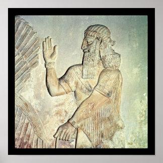 高官、アッシリアレリーフ、浮き彫り ポスター