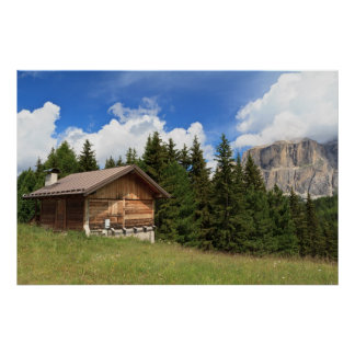 高山の牧草地の納屋 ポスター